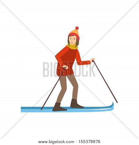 Woman Skiing Winter Sports Illustration Isolated On White Background. Simplified Cartoon Character Vector Drawing.