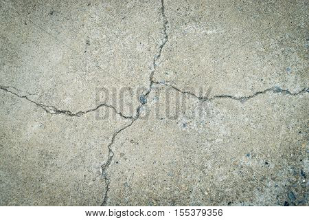 Concrete floor is cracked all the way. Broken mark on a concrete floor for texture and background.