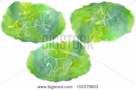 Zodiac Signs triplicity elements of Earth on watercolor background Taurus Virgo Capricorn