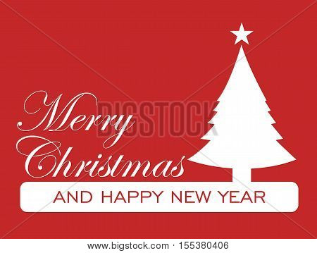 Christmas Card - Merry Christmas Decorative Card Letter White On Red Background Illustration Vector Flat Stock