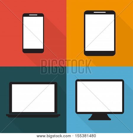 Set Of Techniques In Flat, Phones, Tablets, Monitors, Laptops On Colored Backgrounds, Vector