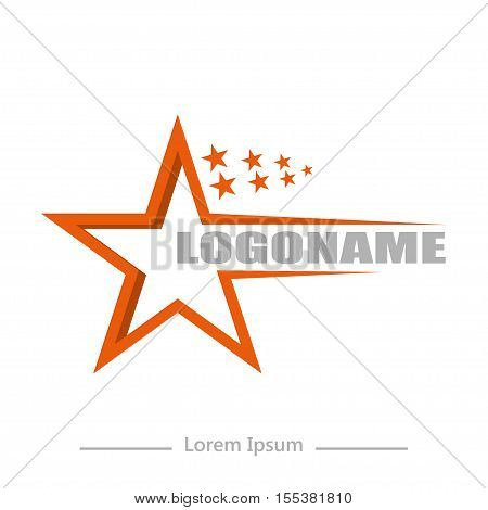 On White Background Logo Talent With Stars, Flat Design