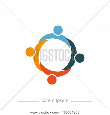 Logo Company With Synergy , Flat Design On White Background