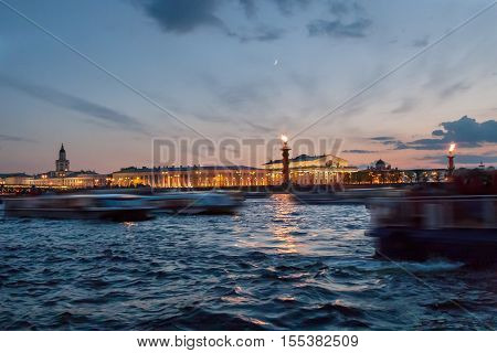 View Of The Spit Of Vasilevsky Island At Night In The Spring, St. Petersburg, Russia