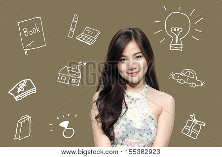 infographic woman wishes everything a girl want and favorable brown background.business woman poster