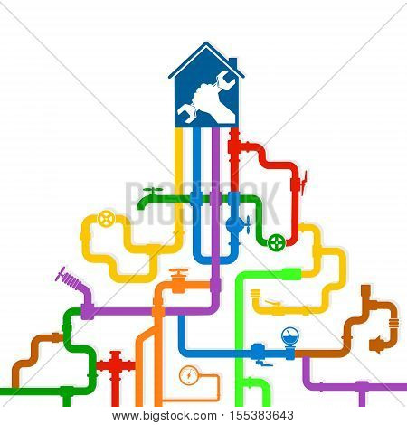 Colored water pipes vector design repair water pipes