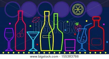 Vector bottles of alcohol and glasses isolated. Neon bright colorful outlines on dark background. Banner flyer for bar restaurant cafe pub disco wine card menu map.