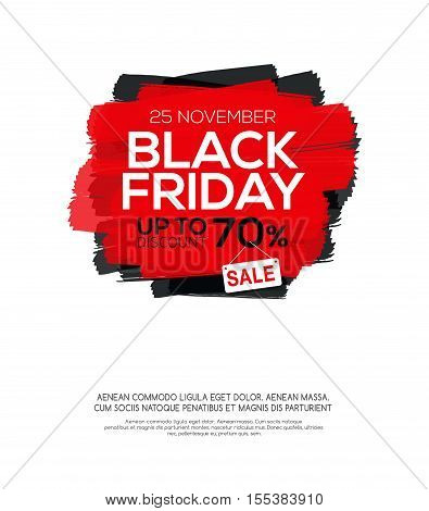 Black Friday sale inscription on abstract ink blots. Black Friday template for your banner or poster. Sale and discount. Vector illustration