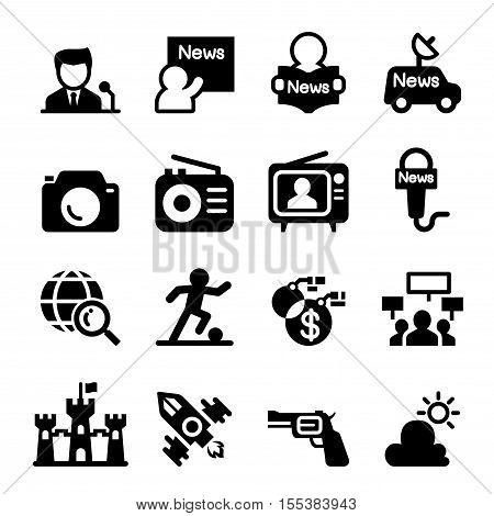 Mass media & news icon set Vector illustration graphic design