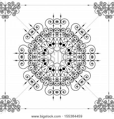 Vector beautiful ornamental rosette or mandala. Abstract ornate rosette