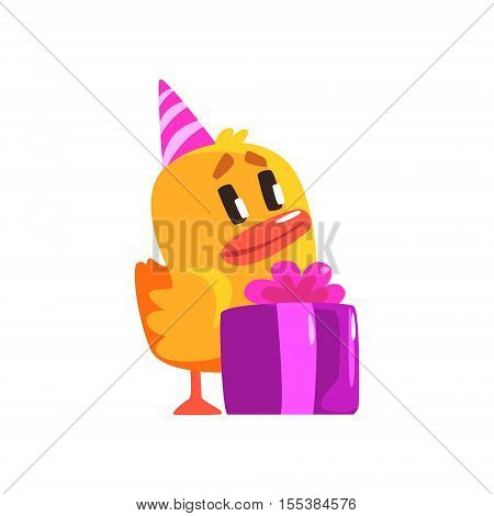Duckling With Birthday Present Cute Character Sticker. Little Duck In Funny Situation Childish Cartoon Graphic Illustration On White Background.
