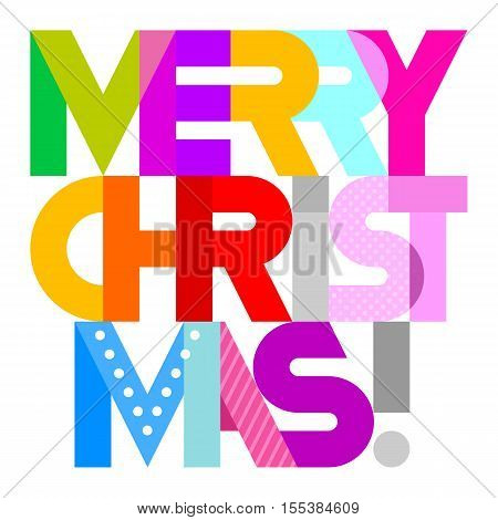 Merry Christmas! - vibrant colors vector decorative text architecture. Lettering design isolated on a white background.