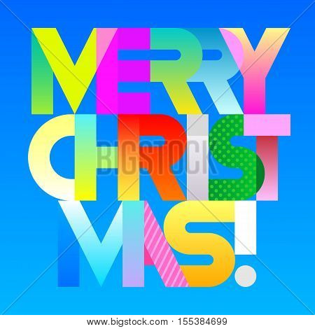 Merry Christmas! - vibrant colors with gradient effects vector decorative text architecture. Lettering design isolated on a blue background.