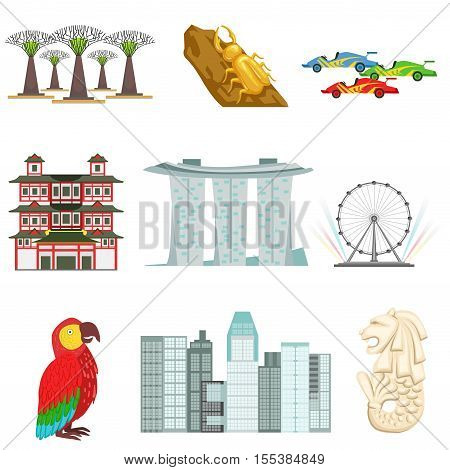 Singapore Touristic Symbols Set. Isolated Objects Representing Singapore Culture On White Background
