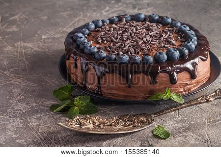 super chocolate cake with chocolate sauce and blueberry