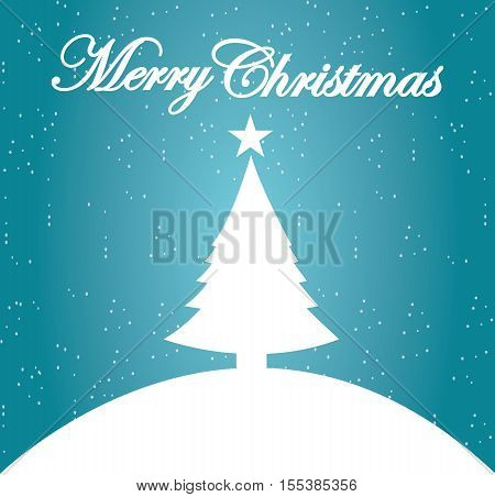 Christmas Card - Merry Christmas Decorative Card Letter White On Blue Background Illustration Vector Flat Stock