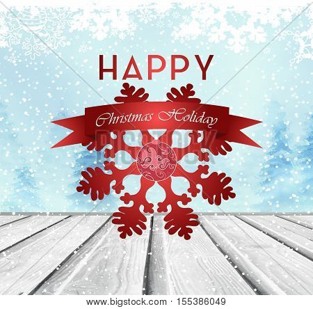 Christmas Background With Wooden Floor Snow Winter Forest Text Snowflakes And Red Ribbon