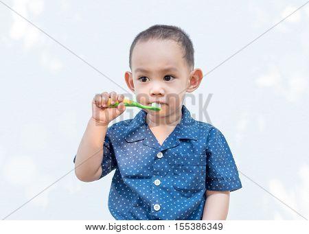 Thai Baby Boy Brushing Teeth.