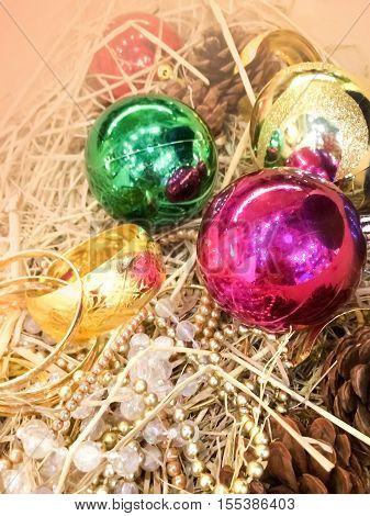 close up beautiful Chirstmas ornaments with shiny colorful