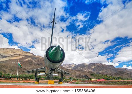 KARGIL JAMMU AND KASHMIR / INDIA - SEPTEMBER 1ST : A MIG-21 fighter plane used by India in Kargil war 1999 (Operation Vijay) between Pakistan and India in memory of Indian victory on 01.09.2014.