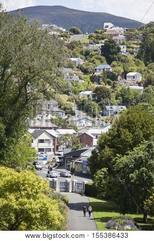 The view of Dunedin city residential district in hilly area (New Zealand).