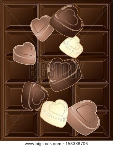 an illustration of chocolate hearts on a bar of chocolate background in a greeting card format for valentines day