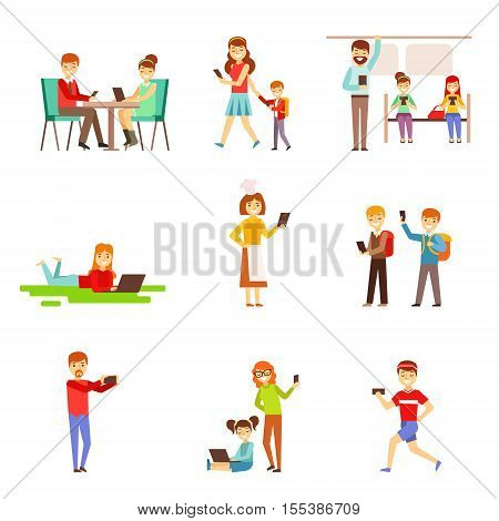 People Zombified And Dependent On Gadgets Set Of Illustrations. Modern Technology And Its Life Impact Set Of Simple Vector Illustrations.