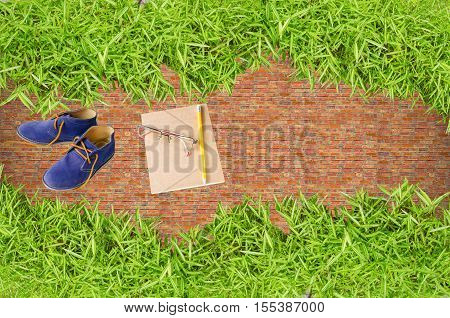 Take a break rest breaks on green grass relieve brain fatigue from hard work. The fresh again back to school or School out