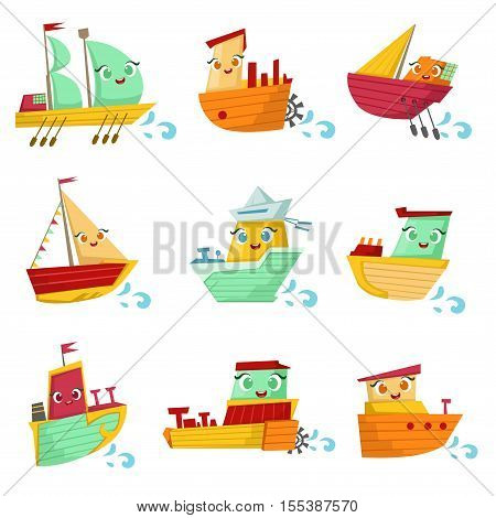 Toy Ships With Faces Colorful Illustration Set. Cartoon Cute Humanized Water Transport Characters Isolated On White Background.