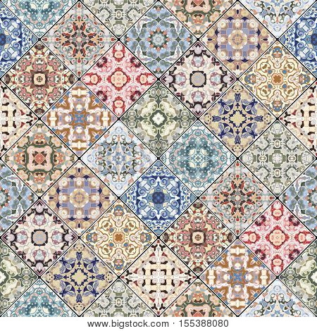 Colorful abstract patterns in the mosaic set. Square scraps in oriental style. Vector illustration. Ideal for printing on fabric or paper.