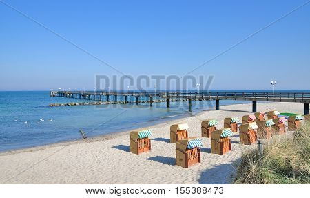 Pier and Beach of Wustrow on Fischland Darss Island,baltic Sea,Mecklenburg western Pomerania,Germany