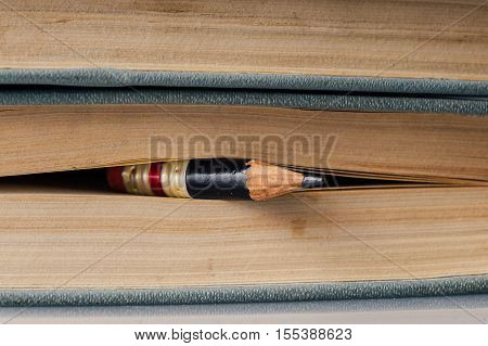 Hundred Page Book Background With Small Perfect Pencil