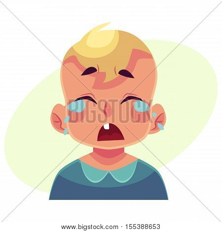 Little boy face, crying facial expression, cartoon vector illustrations isolated on yellow background. Blond male kid emoji face crying, shedding tears, sad, heart broken, in grief.