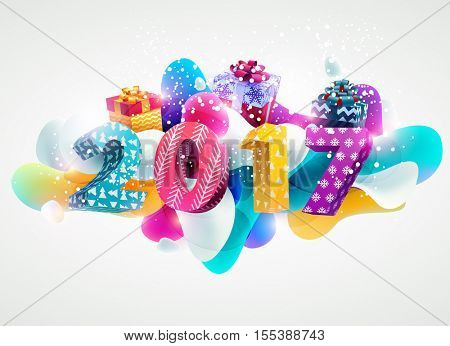 New year 2017. Realistic colorful design.