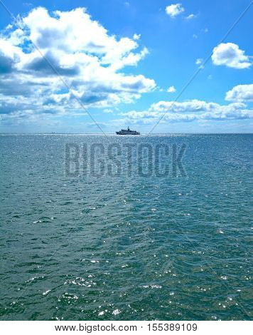 Excursion Ship at baltic Sea near Town of Sassnitz on Ruegen Island,Mecklenburg western Pomerania,Germany