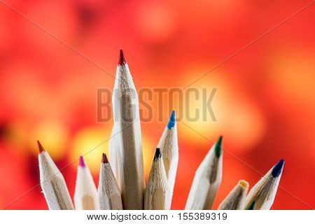 Goal concept idea color pencil, business idea and sucess concept