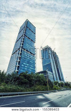TEL AVIV, ISRAEL - OCT 12, 2016 :  Looking up  / Bottom view of modern skyscrapers