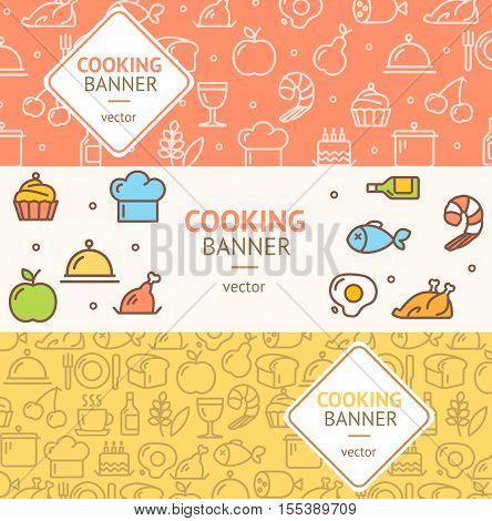 Cooking Banner Flyer Horizontal Set Thin Line Pixel Perfect Art. Material Design. Vector illustration