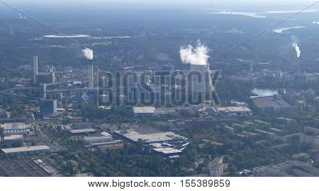 BERLIN GERMANY. SEPTEMBER 2ND 2016 - Aerial view of power plant cooling tower in Berlin Germany