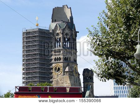 BERLIN GERMANY. SEPTEMBER 2ND 2016 - Kaiser Wilhelm Memorial Church in Berlin. Historical church hit and damaged by allied air forces during the second world war and never restored