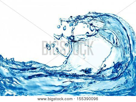 blue color water splash isolated on white background