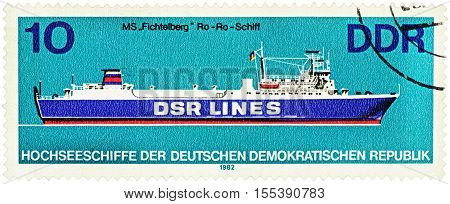 MOSCOW RUSSIA - NOVEMBER 06 2016: A stamp printed in GDR (East Germany) shows Ro-Ro ship