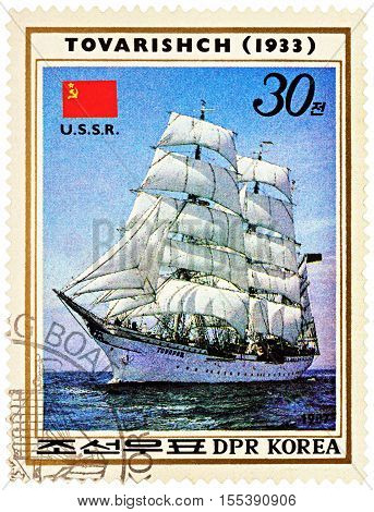 MOSCOW RUSSIA - NOVEMBER 04 2016: A stamp printed in DPRK (North Korea) shows image of Russian sail training barque