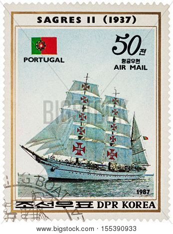 MOSCOW RUSSIA - NOVEMBER 04 2016: A stamp printed in DPRK (North Korea) shows image of Portuguese sail training ship