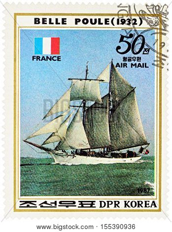 MOSCOW RUSSIA - NOVEMBER 04 2016: A stamp printed in DPRK (North Korea) shows image of French sail training ship