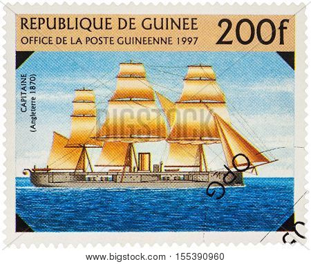 MOSCOW RUSSIA - NOVEMBER 06 2016: A stamp printed in Guinea shows old warship