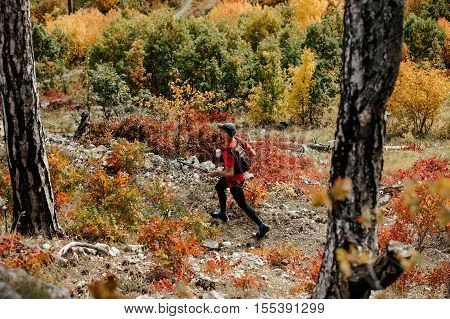 Yalta Russia - October 5 2016: view from top runner with nordic walking sticks running trail in autumn forest during Crimea mountain marathon