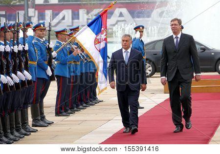 Hungarian Prime Minister Viktor Orban At The Official Visit To Aleksandar Vucic, Prime Minister Of S