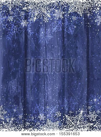 Wooden blue christmas background with snowflakes vector illustration
