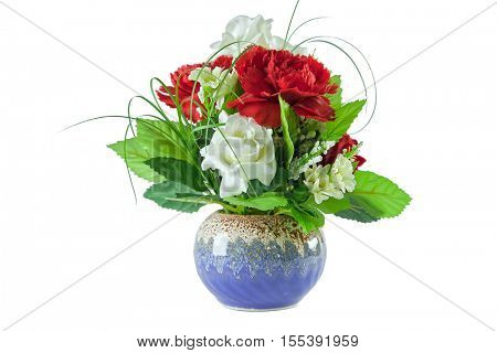 beautiful red and white roses bouquet in blue vase on white background